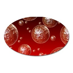 Background Red Blow Balls Deco Oval Magnet