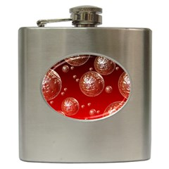 Background Red Blow Balls Deco Hip Flask (6 oz)