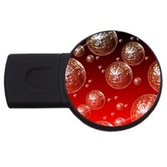 Background Red Blow Balls Deco USB Flash Drive Round (1 GB)