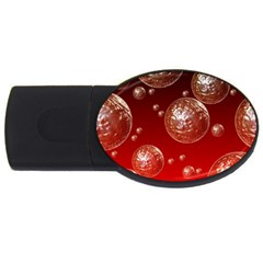 Background Red Blow Balls Deco USB Flash Drive Oval (2 GB)