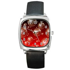 Background Red Blow Balls Deco Square Metal Watch