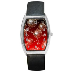 Background Red Blow Balls Deco Barrel Style Metal Watch