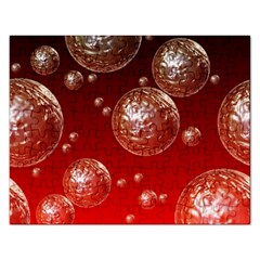 Background Red Blow Balls Deco Rectangular Jigsaw Puzzl