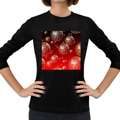 Background Red Blow Balls Deco Women s Long Sleeve Dark T-Shirts