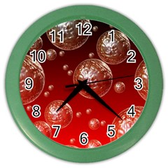 Background Red Blow Balls Deco Color Wall Clocks