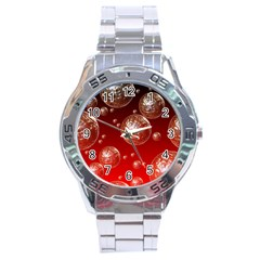Background Red Blow Balls Deco Stainless Steel Analogue Watch