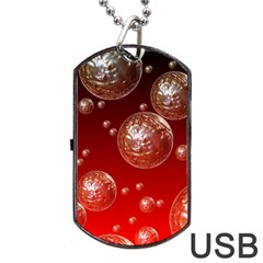 Background Red Blow Balls Deco Dog Tag USB Flash (One Side)