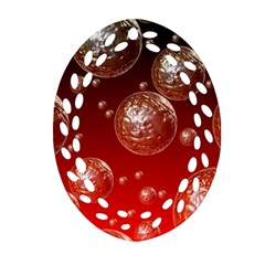 Background Red Blow Balls Deco Oval Filigree Ornament (two Sides)