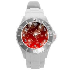 Background Red Blow Balls Deco Round Plastic Sport Watch (L)