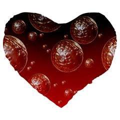 Background Red Blow Balls Deco Large 19  Premium Flano Heart Shape Cushions