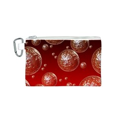 Background Red Blow Balls Deco Canvas Cosmetic Bag (S)