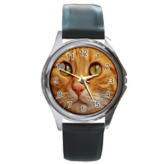 Cat Red Cute Mackerel Tiger Sweet Round Metal Watch