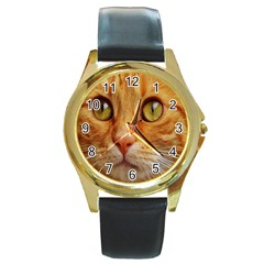 Cat Red Cute Mackerel Tiger Sweet Round Gold Metal Watch