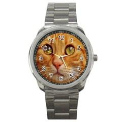 Cat Red Cute Mackerel Tiger Sweet Sport Metal Watch
