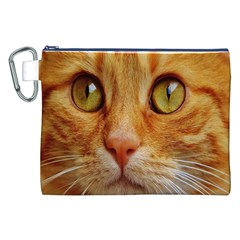 Cat Red Cute Mackerel Tiger Sweet Canvas Cosmetic Bag (XXL)