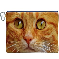 Cat Red Cute Mackerel Tiger Sweet Canvas Cosmetic Bag (XXXL)