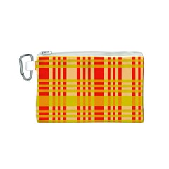 Check Pattern Canvas Cosmetic Bag (S)