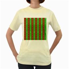 Christmas Tree Background Women s Yellow T-Shirt