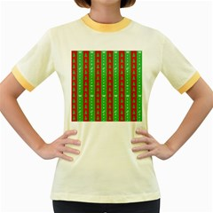 Christmas Tree Background Women s Fitted Ringer T-Shirts