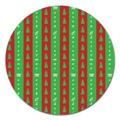 Christmas Tree Background Magnet 5  (Round)