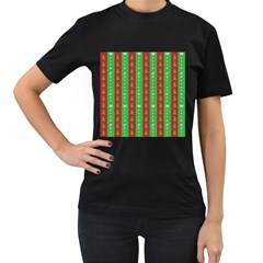 Christmas Tree Background Women s T-Shirt (Black) (Two Sided)