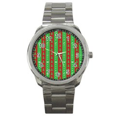 Christmas Tree Background Sport Metal Watch