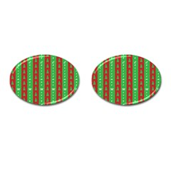 Christmas Tree Background Cufflinks (Oval)