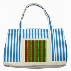 Christmas Tree Background Striped Blue Tote Bag
