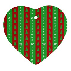 Christmas Tree Background Heart Ornament (Two Sides)