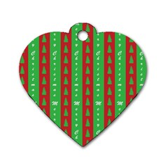 Christmas Tree Background Dog Tag Heart (two Sides)