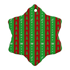 Christmas Tree Background Snowflake Ornament (Two Sides)