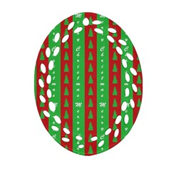 Christmas Tree Background Oval Filigree Ornament (two Sides)