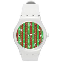 Christmas Tree Background Round Plastic Sport Watch (M)