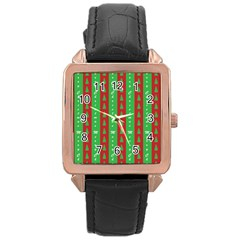 Christmas Tree Background Rose Gold Leather Watch