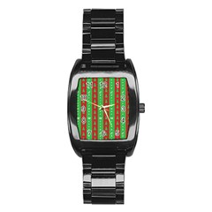 Christmas Tree Background Stainless Steel Barrel Watch
