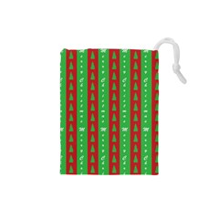 Christmas Tree Background Drawstring Pouches (Small)