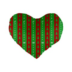 Christmas Tree Background Standard 16  Premium Flano Heart Shape Cushions