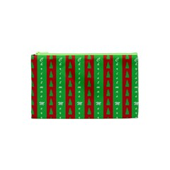 Christmas Tree Background Cosmetic Bag (xs)
