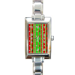 Christmas Paper Pattern Rectangle Italian Charm Watch