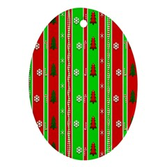 Christmas Paper Pattern Ornament (Oval)
