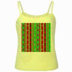 Christmas Paper Pattern Yellow Spaghetti Tank