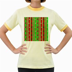 Christmas Paper Pattern Women s Fitted Ringer T-Shirts