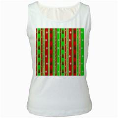 Christmas Paper Pattern Women s White Tank Top