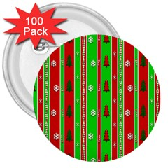 Christmas Paper Pattern 3  Buttons (100 pack)