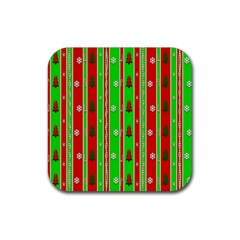 Christmas Paper Pattern Rubber Square Coaster (4 pack)