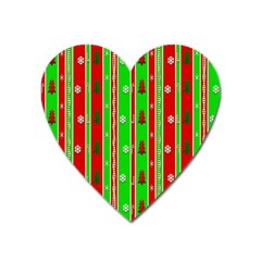 Christmas Paper Pattern Heart Magnet