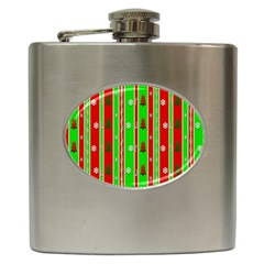 Christmas Paper Pattern Hip Flask (6 Oz)