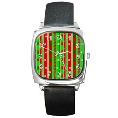 Christmas Paper Pattern Square Metal Watch