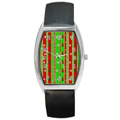 Christmas Paper Pattern Barrel Style Metal Watch