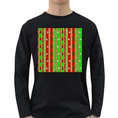 Christmas Paper Pattern Long Sleeve Dark T-Shirts